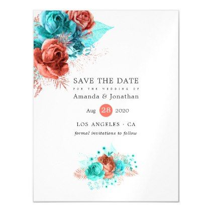 Living Coral and Turquoise Wedding Save the Date Magnetic Invitation | Zazzle.com #turquoisecoralweddings