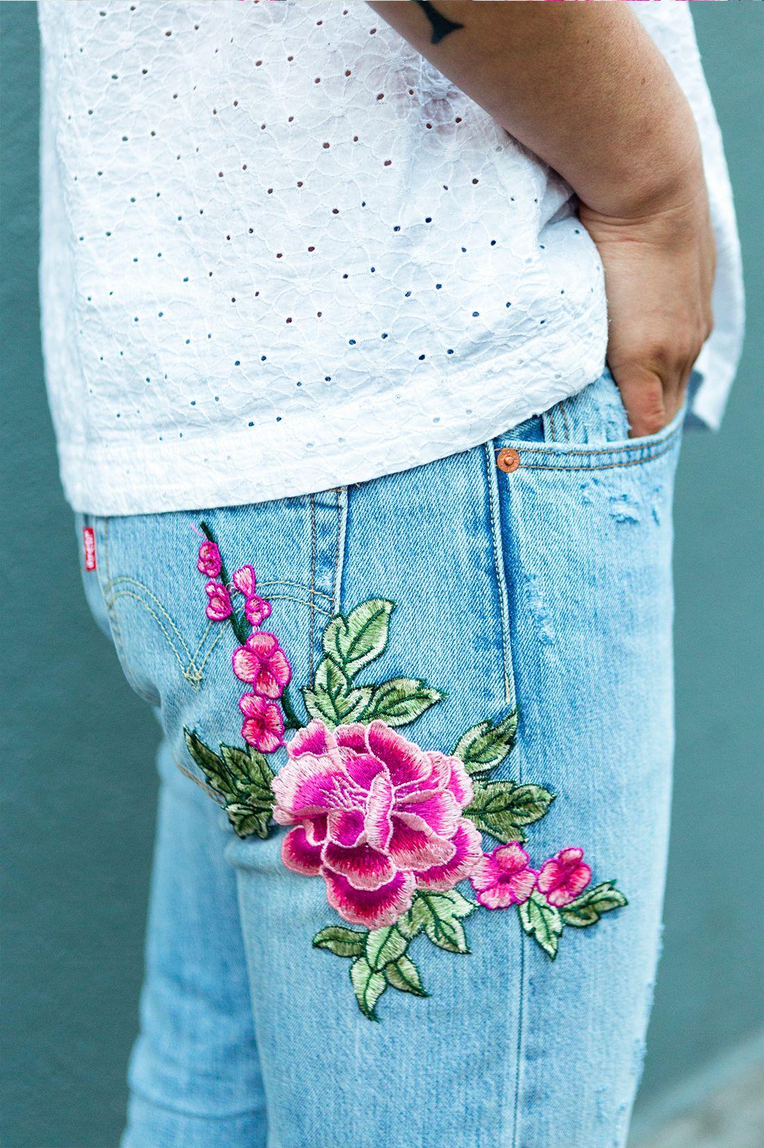 рисунок из ниток на джинсах