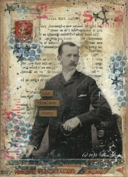 Mail art by Miss Iowa of ATC's For All. Done on 5x7 canvas board. Sent, as is, with postage on the back. Click to view original