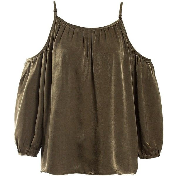 Sans Souci Olive satin cold shoulder top ($34) ❤ liked on Polyvore featuring tops, olive, open shoulder top, cut shoulder tops, brown tops, cut-out shoulder tops and relaxed fit tops