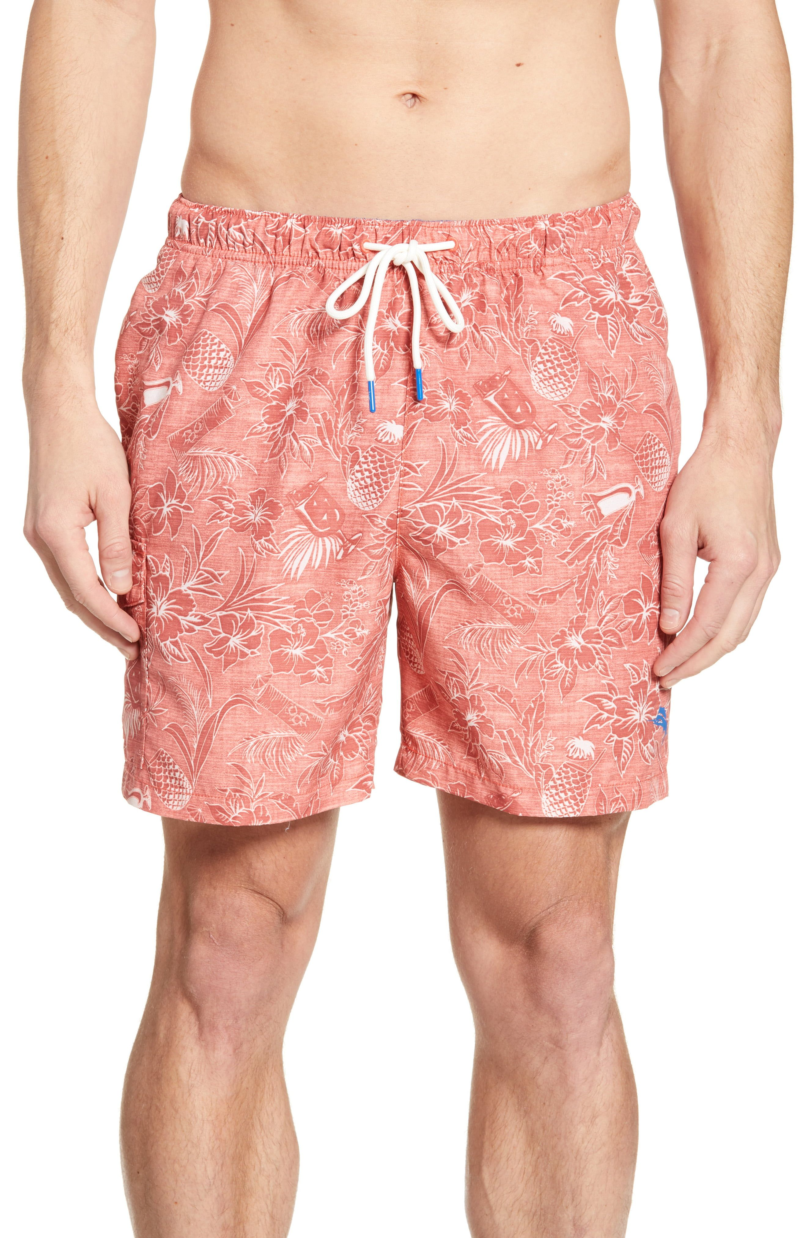 827f206be2ecc Men's Tommy Bahama Naples Tiki Luau Print Swim Trunks, Size XX-Large -  Orange