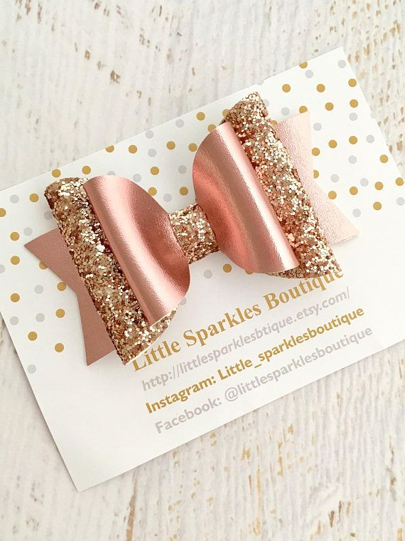 Rose gold bow glitter bow