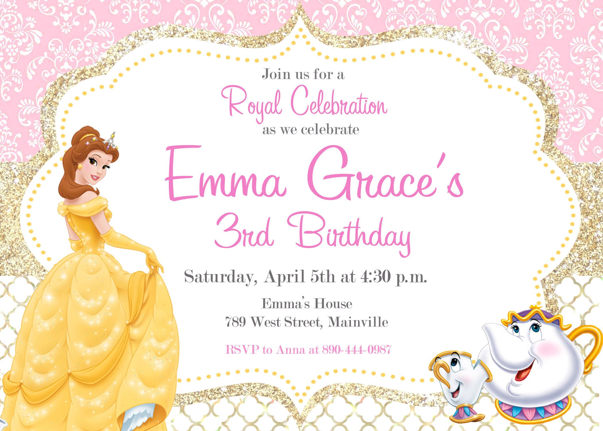 Pin by pamela hinojosa on paola 2nd pinterest princess belle beauty and the beast princess belle birthday party invitation digital or printed with free shipping filmwisefo Images