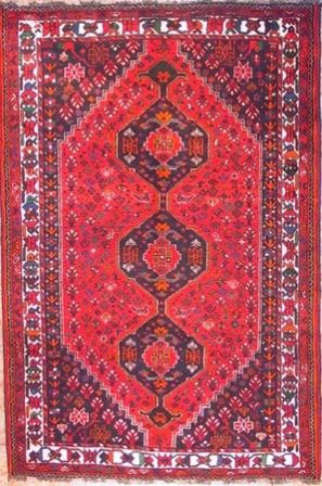 Red Colored Shiraz Persian Rug From The City Of In Iran