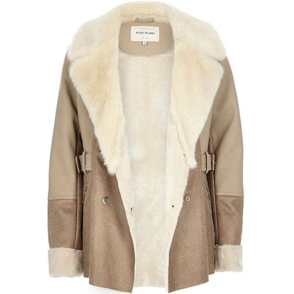 River Island Light brown faux suede faux fur coat (4,720 PHP ...
