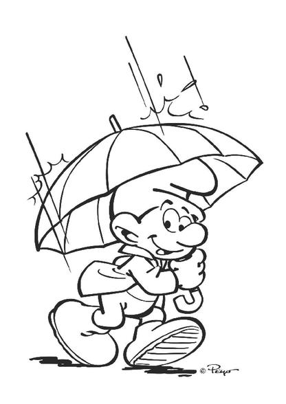 Kleurplaten Van Baby Smurf.Kleurplaat Smurf In De Regen Zappelin De Smurfen Kleurplaten