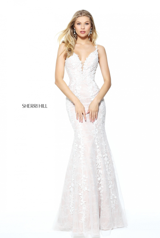 Sherri Hill 50938 Ivory Nude Lace Mermaid Floral Applique Ypsilon ...