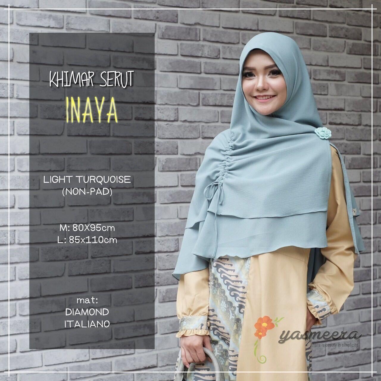 Yasmeera Khimar Serut Inaya Non Pad Light Turquoise - hijab