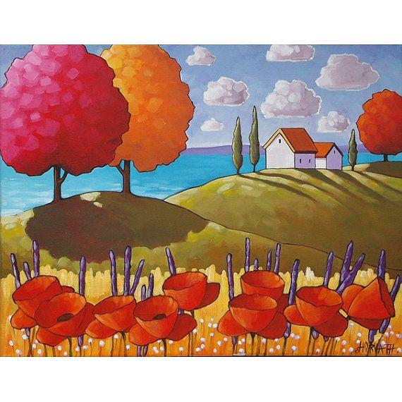 painting original folk art red poppy ocean cottages seaside modern landscape ready to hang blue. Black Bedroom Furniture Sets. Home Design Ideas