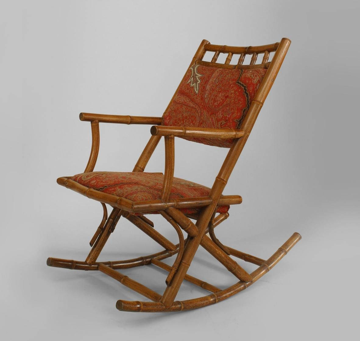 French Victorian bamboo rocking chair with paisley ...