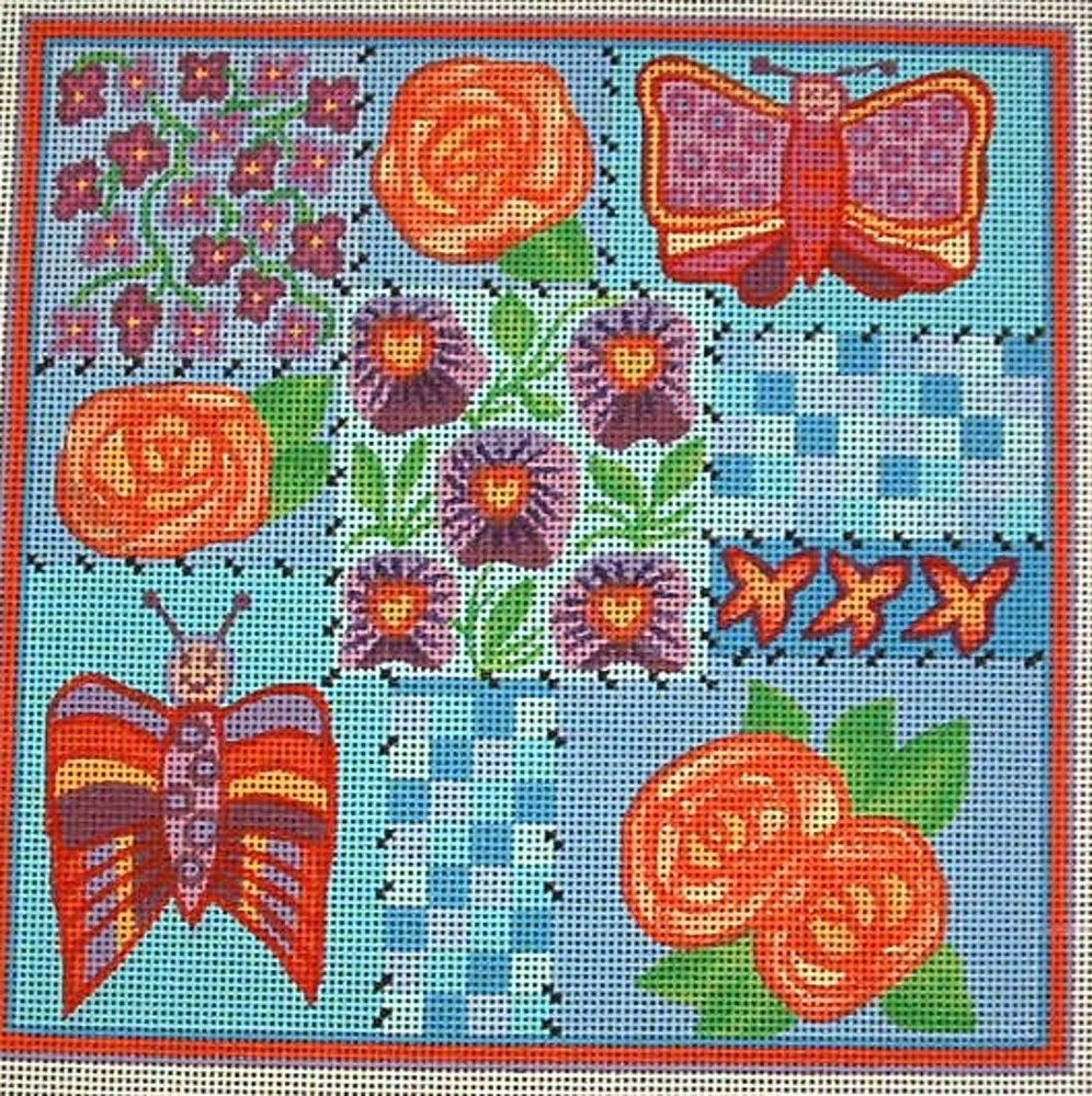 Patchwork, Hand Painted Needlepoint Canvas