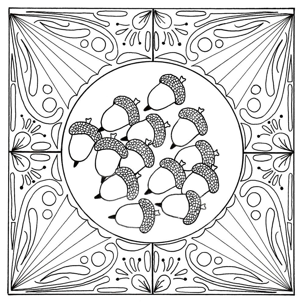 Fall Acorn Mandala Adult Coloring Page Mandala Coloring Pages