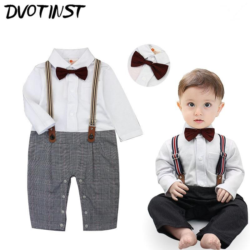 0d0669660e43 Dvotinst Baby Boys Clothes Full Sleeves Gentleman Bow Tie Supenders ...