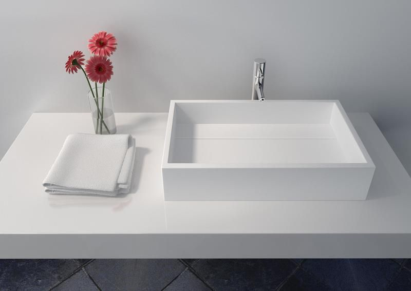 Jingzun Solid Surface Rectangle Single Top Mount Bathroom Sink Jz1014 White Matte Finish In 2020 Top Mount Bathroom Sink Countertop Basin Bathroom Basin