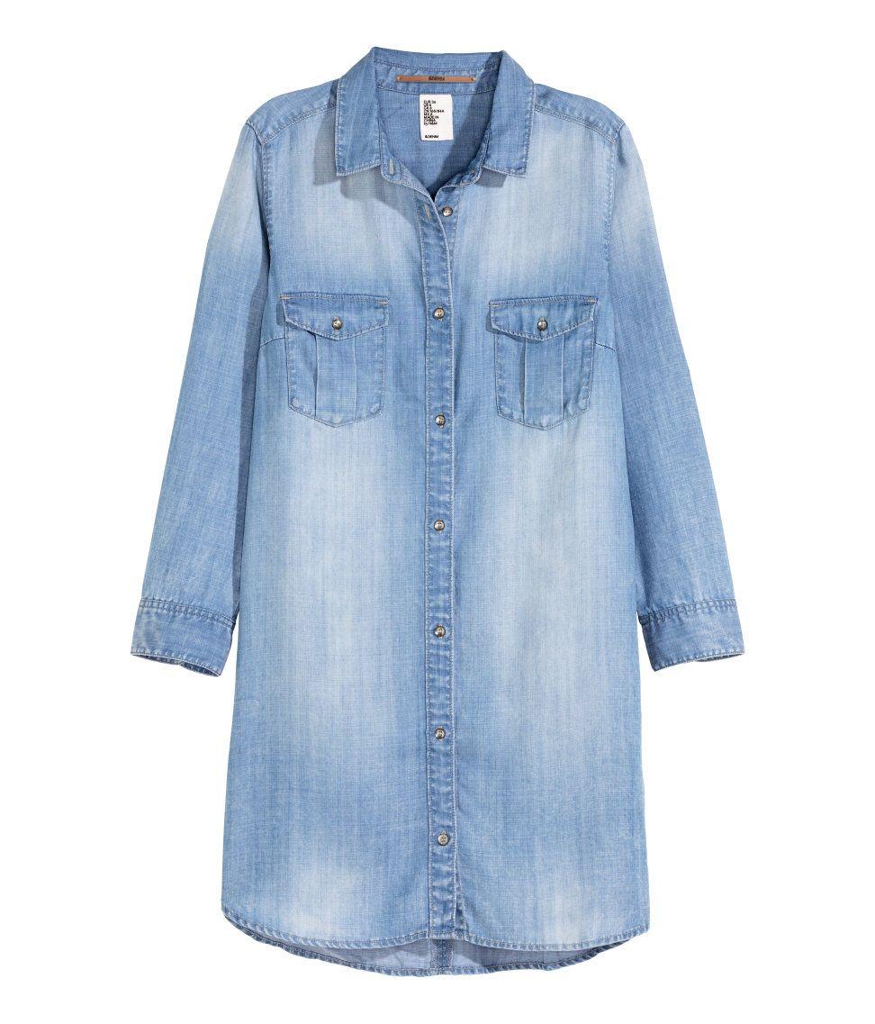 b14b607a5ed Long shirt in soft Tencel® lyocell denim. | H&M Denim | H&M DENIM ...