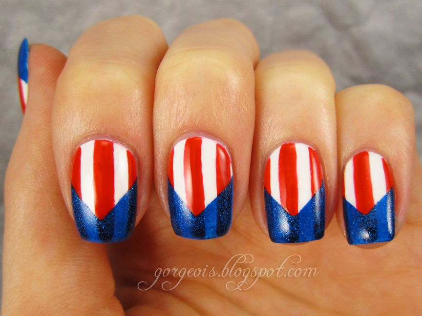 Fourth of July nail art featuring China Glaze Blue Sparrow, Venique Wingtip White, Sinful Colors Ruby Ruby