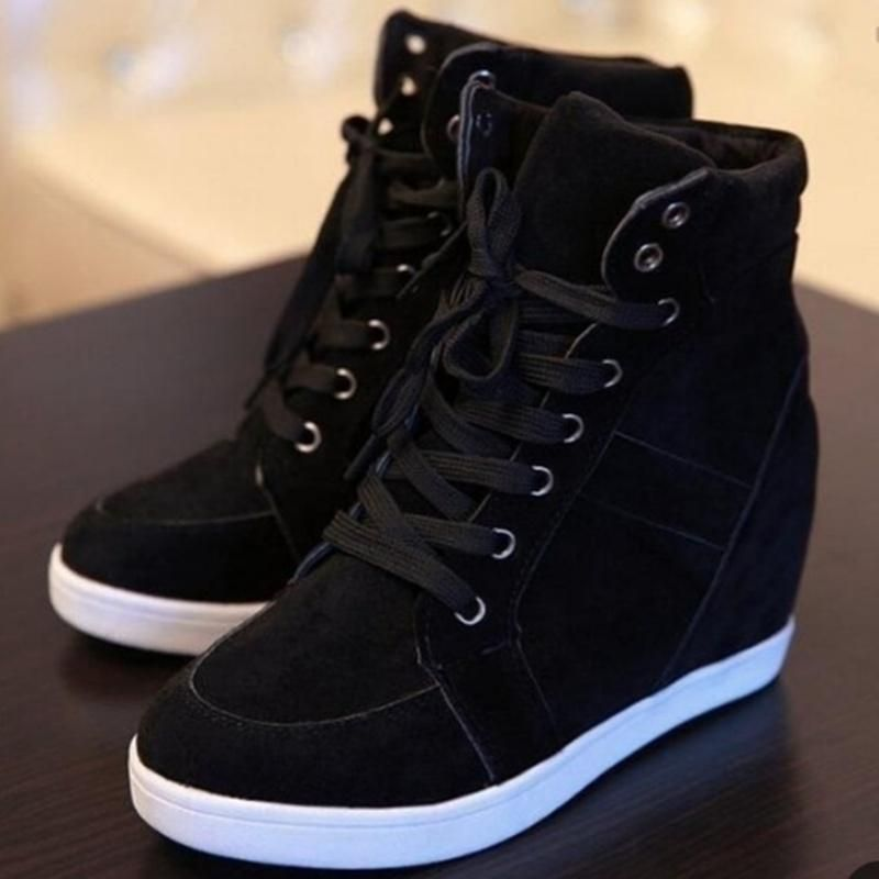 46408d3f2e1 2 Colors Women Fashion Wedge Sneakers High Heel Shoes Black Red Tennis  Shoes Casual Outdoor Shoes
