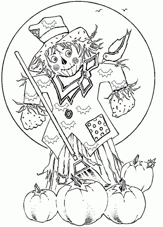Scarecrow On Halloween Night Coloring Pages Letscolorit Com Fall Coloring Pages Dolphin Coloring Pages Cute Coloring Pages
