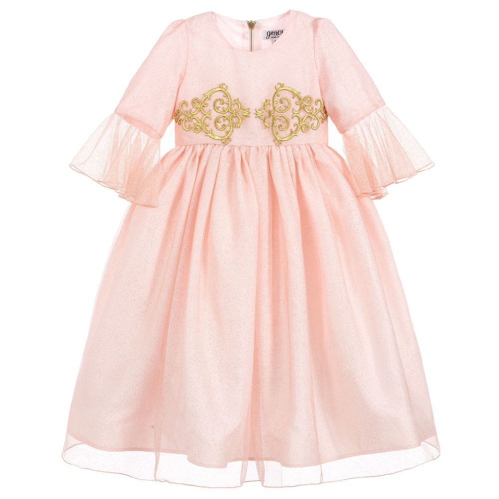 788203a6223d Graci Pink   Gold Tulle Long Dress at Childrensalon.com