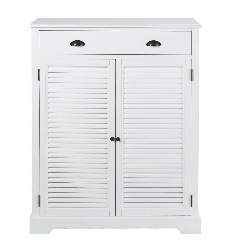 Meuble A Chaussures 2 Portes 1 Tiroir Blanc Maisons Du Monde Shoe Organiser Drawers Tall Cabinet Storage