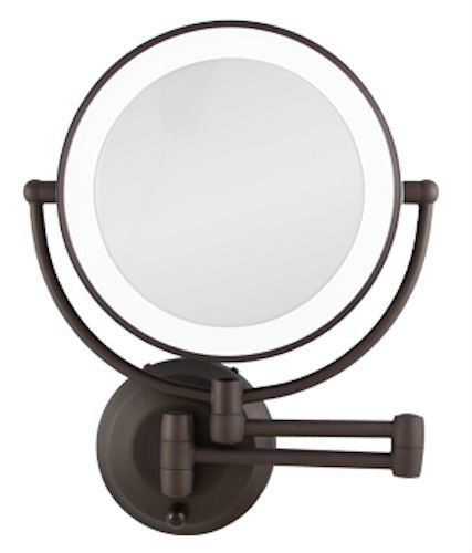 Zadro 1x 10x Cordless Led Lighted Wall Mount Makeup Mirror Ledw810 Bronze New