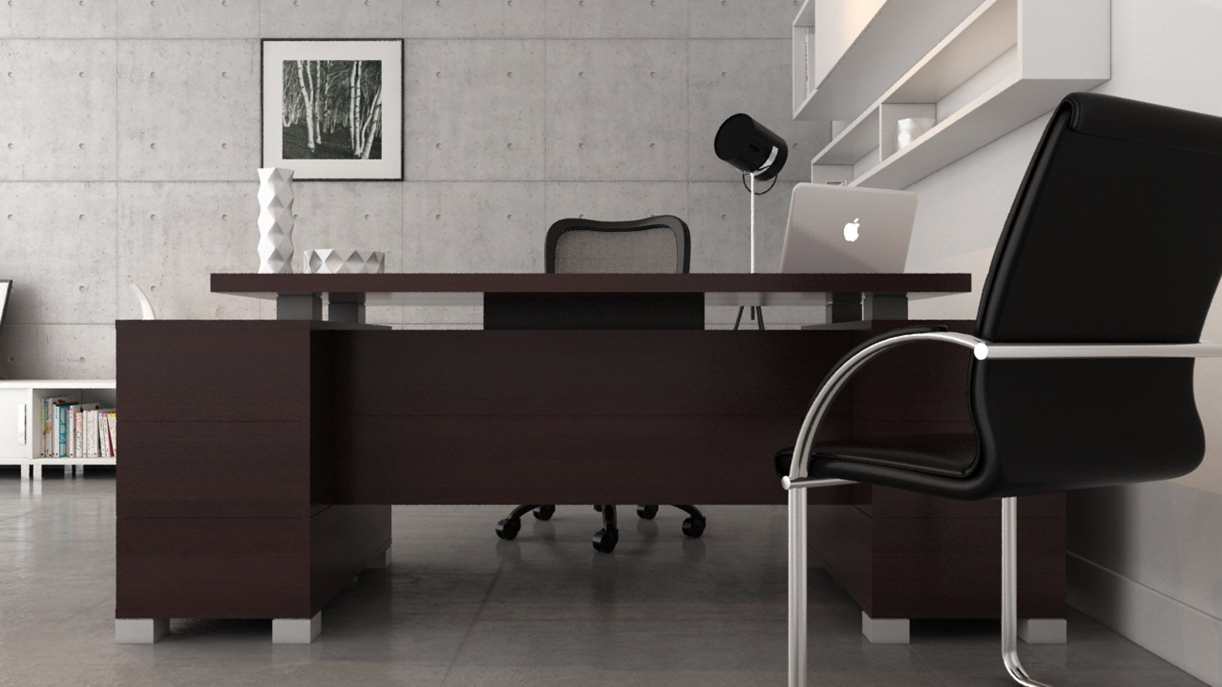 Ford Executive Modern Desk With Filing Cabinets Dark Wood Finish Modern Contemporary Desks Zuri Modern Home Office Furniture Furniture Office Furniture