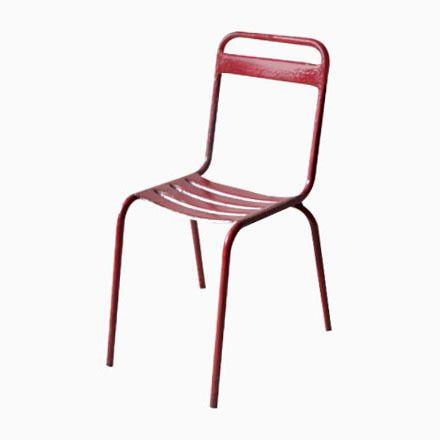 Rote Vintage Metall Stühle Jetzt bestellen unter   moebel - stühle für die küche