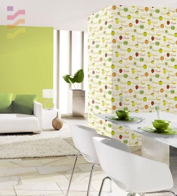 Frische Farben und Tapeten mit Früchtenmuster, besoders sommerlich ...