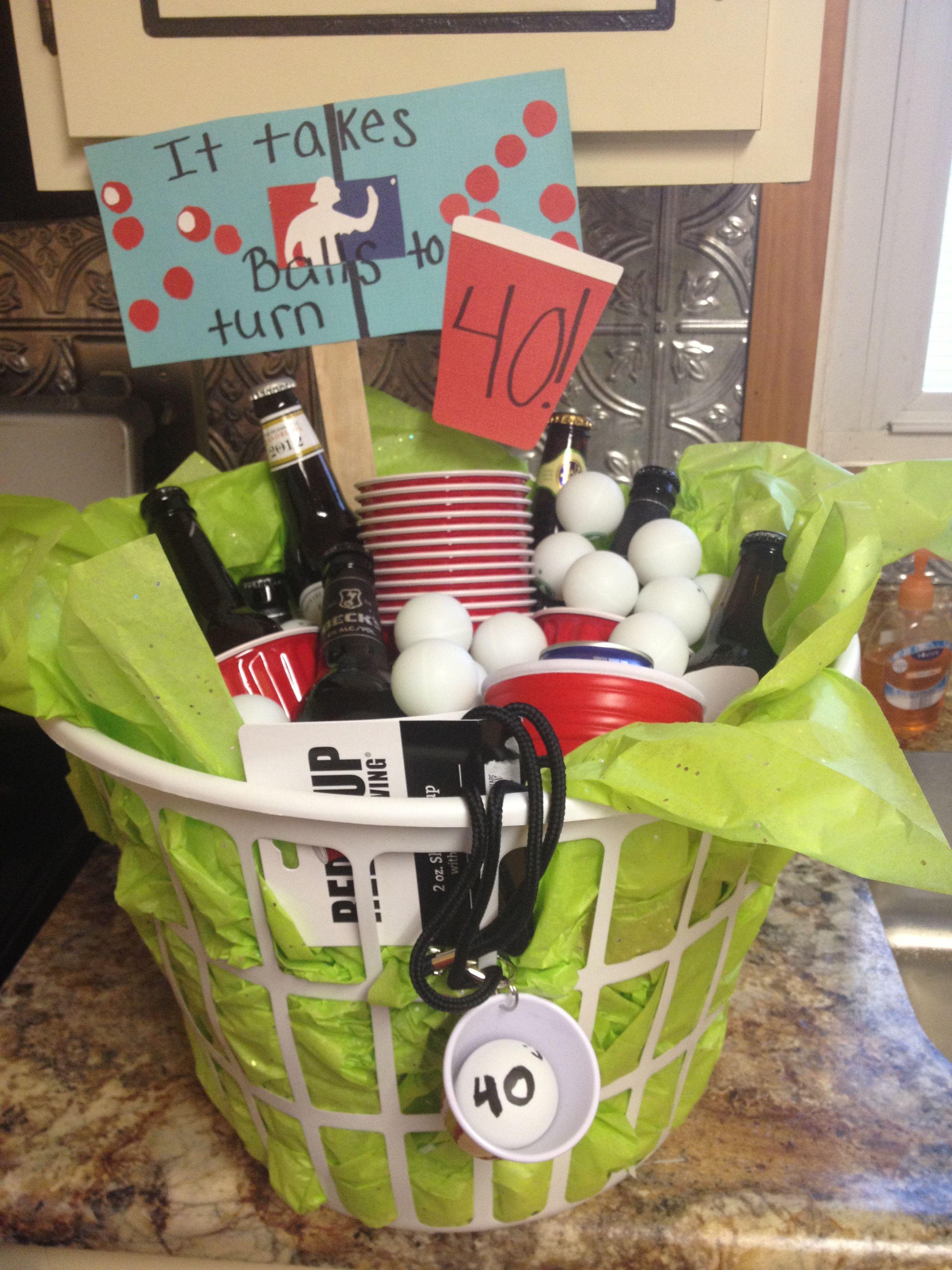 It takes balls to turn 40 beer pong gift basket diy by breezy lol guy gift it takes balls to turn beer pong gift basket negle Gallery
