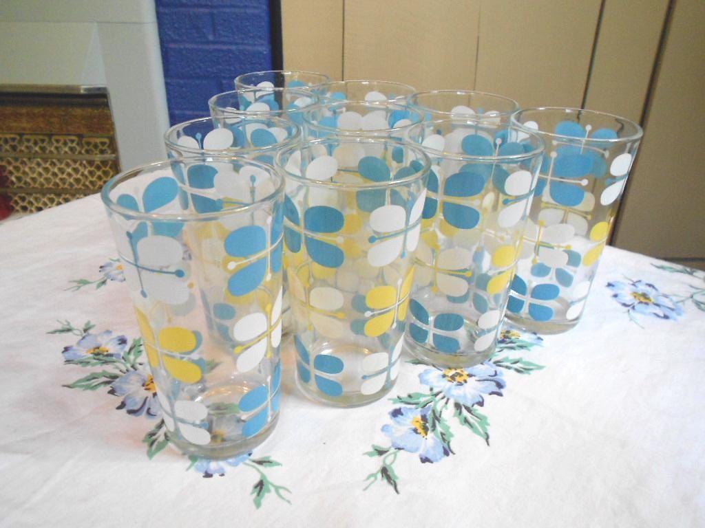 Vintage Hazel Atlas Glass Yellow & Turquoise Modern Butterfly ...