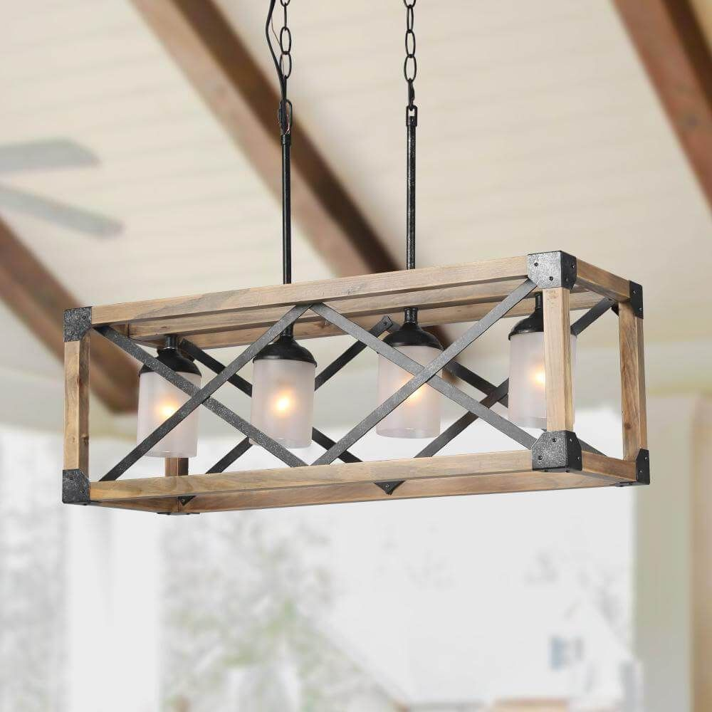 Lnc Kitchen Island Lights Wood Farmhouse Pendant Lighting 4 Light In