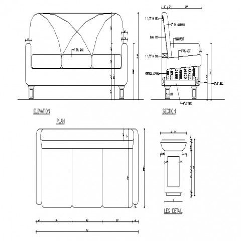 Dynamic Sofa Set Elevation Section Plan And Leg Cad Drawing