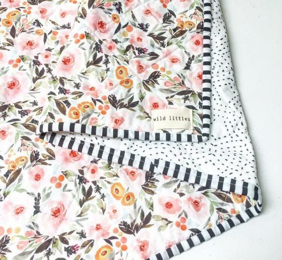 Photo of Modern Wholecloth Baby Quilt-Modern Baby Girl Quilt-Baby Quilt Blanket-Watercolour Floral Baby Quilt, Boho Baby Quilt, Indie Baby Quilt