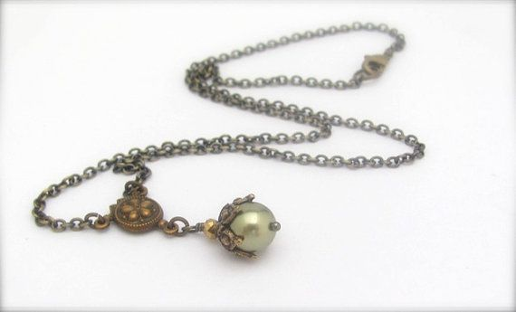 Pearl Necklace Forest Green Swarovski Crystal Pearl by hawaiibeads, $23.00