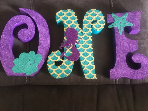 Mermaid Under The Sea Theme 1st Birthday Letters Wood Letters