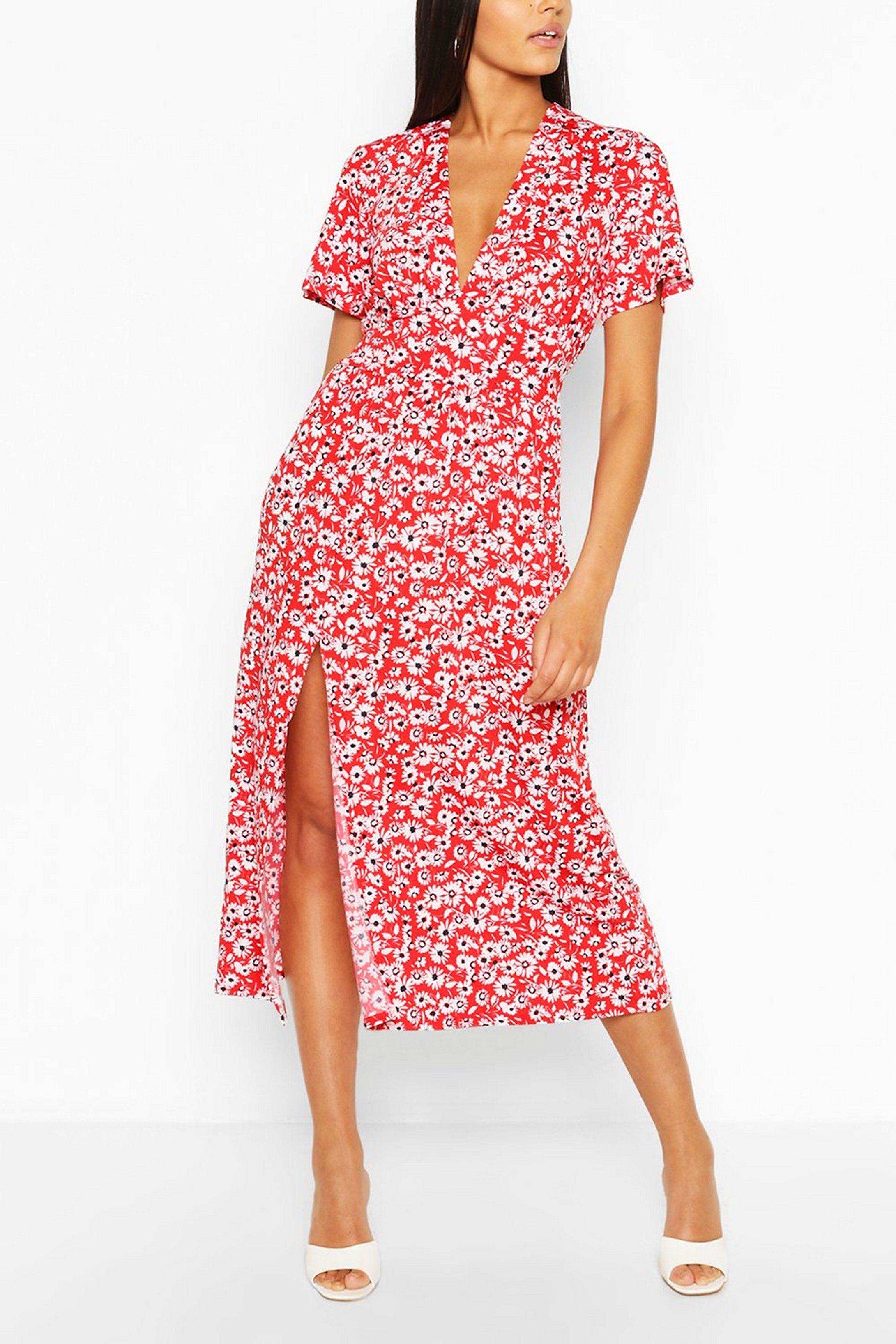 Tall Floral Midi Dress Boohoo In 2021 Midi Dress Dresses Clothing For Tall Women [ 3272 x 2181 Pixel ]