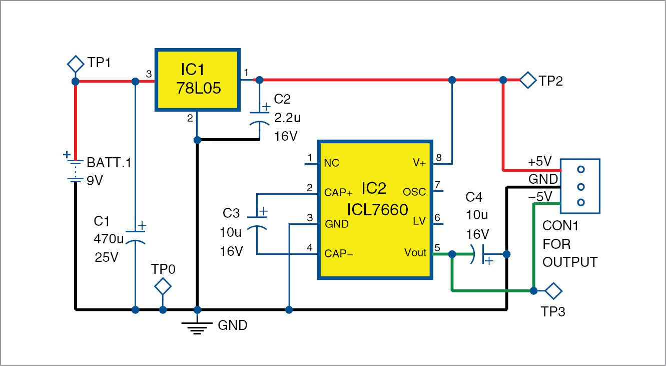 Plus Minus 5v Supply From 9v Battery Simple Circuit Electronics