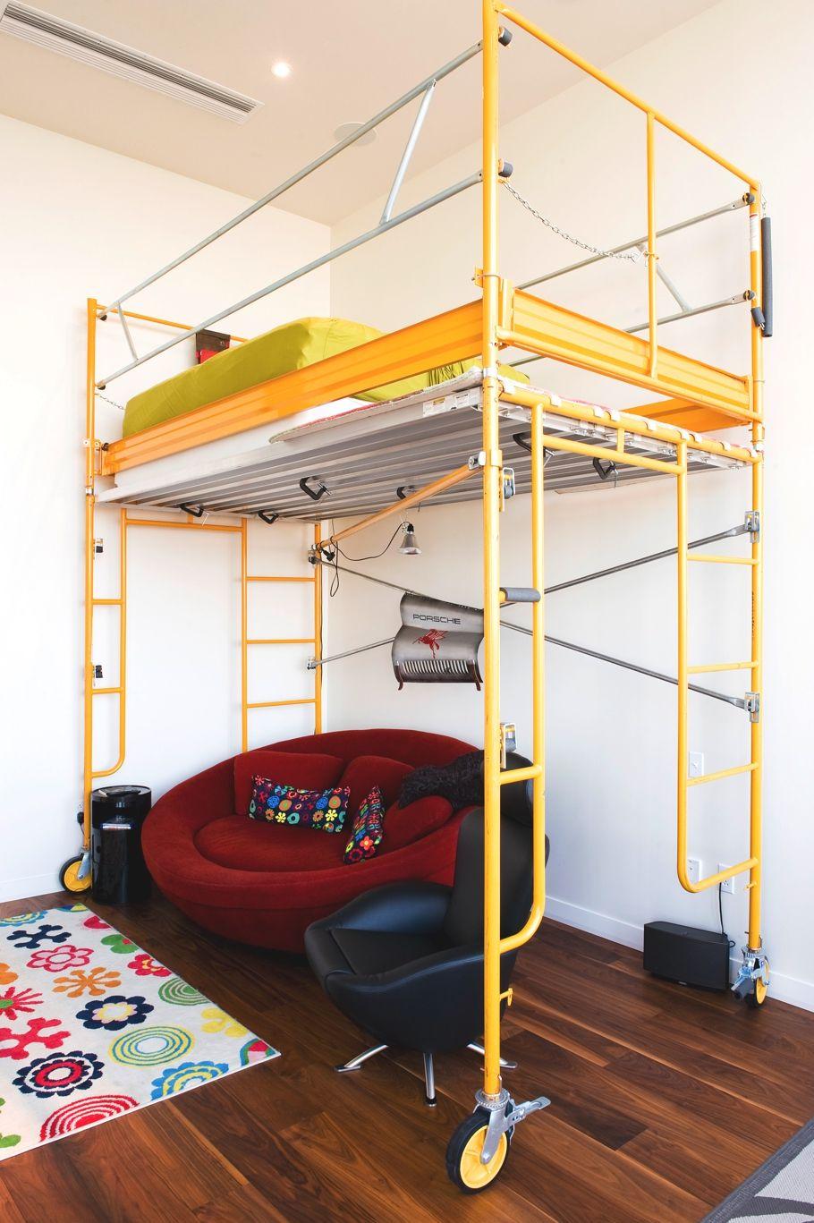 Under loft bed ideas  Scaffolding for bunk bed Neat  Scaffolding  Pinterest  Austin