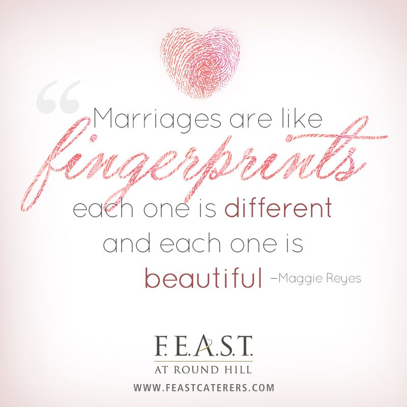 Marriages Are Like Fingerprints, Each One Is Different And