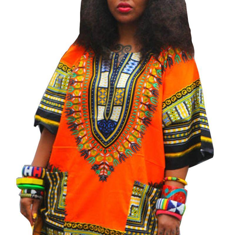 전통적인 아프리카 의류 여성 셔츠 남여 orange 클래식 코튼 다시 키 탑 플러스 사이즈 여름 인쇄 블라우스 10749