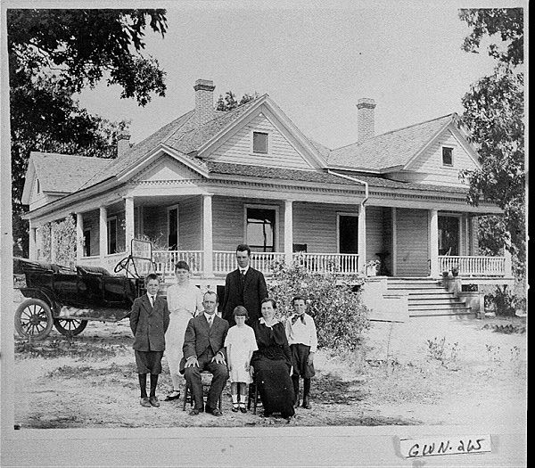 Photograph Of The Hood Family In Front Of Their Home Dacula