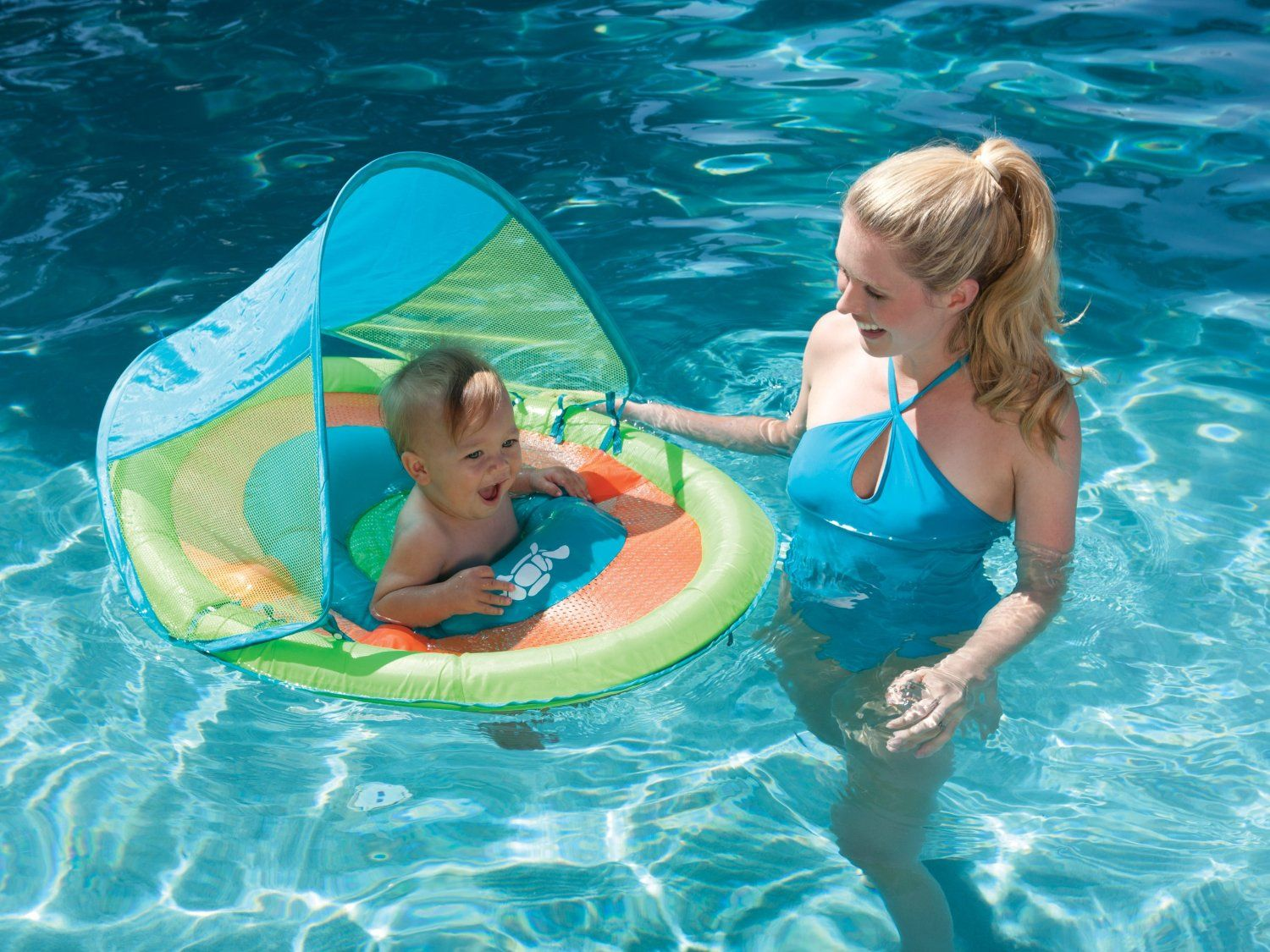 Baby pool float with sun canopy its summertime Baby Sleep