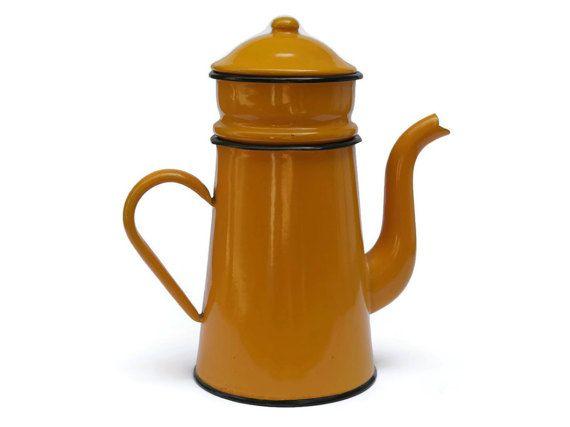 10% Off French Enamel Coffee Pot. Shabby French Coffee Biggin. Orange Enamelware Coffee Maker.
