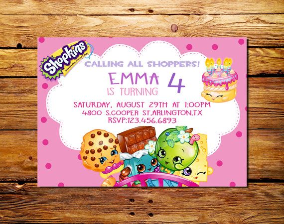 Shopkins Birthday Part Invitations Shopkins party supplies – Print at Home Birthday Cards