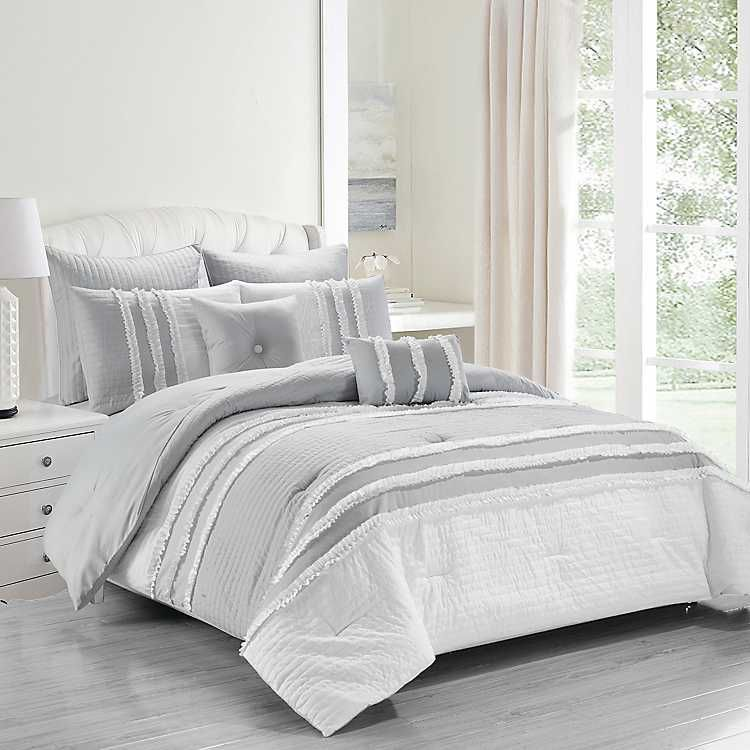 Gray And White Chartreux 8 Pc Queen Comforter Set Kirklands Comforter Sets Grey And White Comforter Comfortable Bedroom