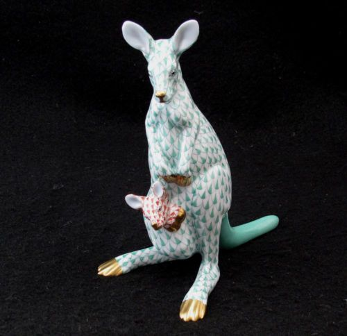 Herend Kangaroo Hand Painted Porcelain Figurine In Pink: Unique Gift Idea! Herend Kangaroo And Baby Joey Figurine
