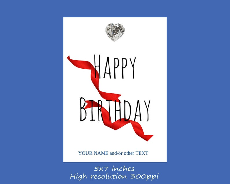 | Printable 5 x 7 Inches Digital Folded Floral Birthday Card