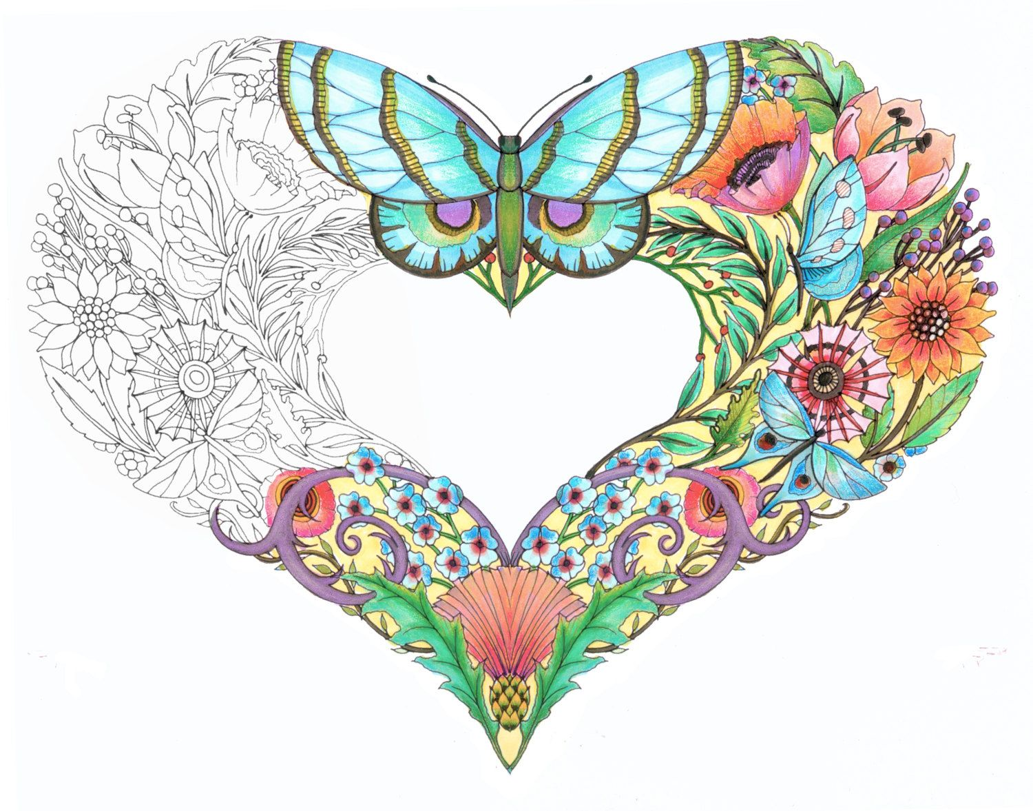 Butterfly and hearts coloring pages - Open Hearts Coloring Pages For Adults Set Of 10