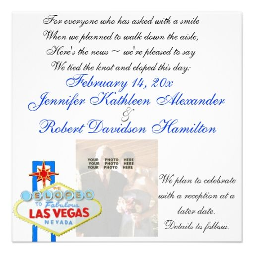 Eloped to Las Vegas Newlywed Photo Announcement