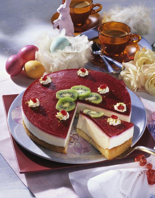 Käse-Sahne-Torte mit Himbeerspiegel (Diabetiker) Rezept | LECKER